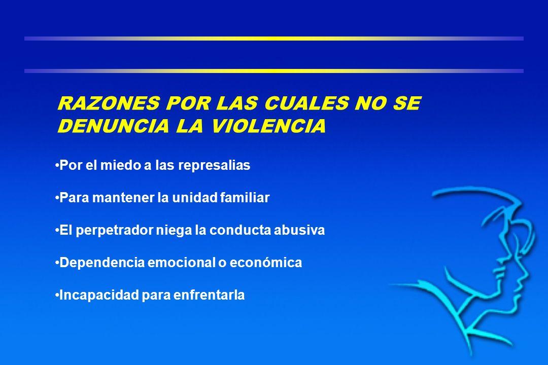 RAZONES POR LAS CUALES NO SE DENUNCIA LA VIOLENCIA