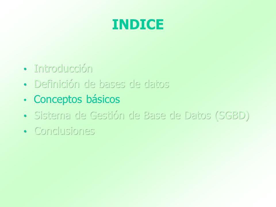 INDICE Introducción Definición de bases de datos Conceptos básicos