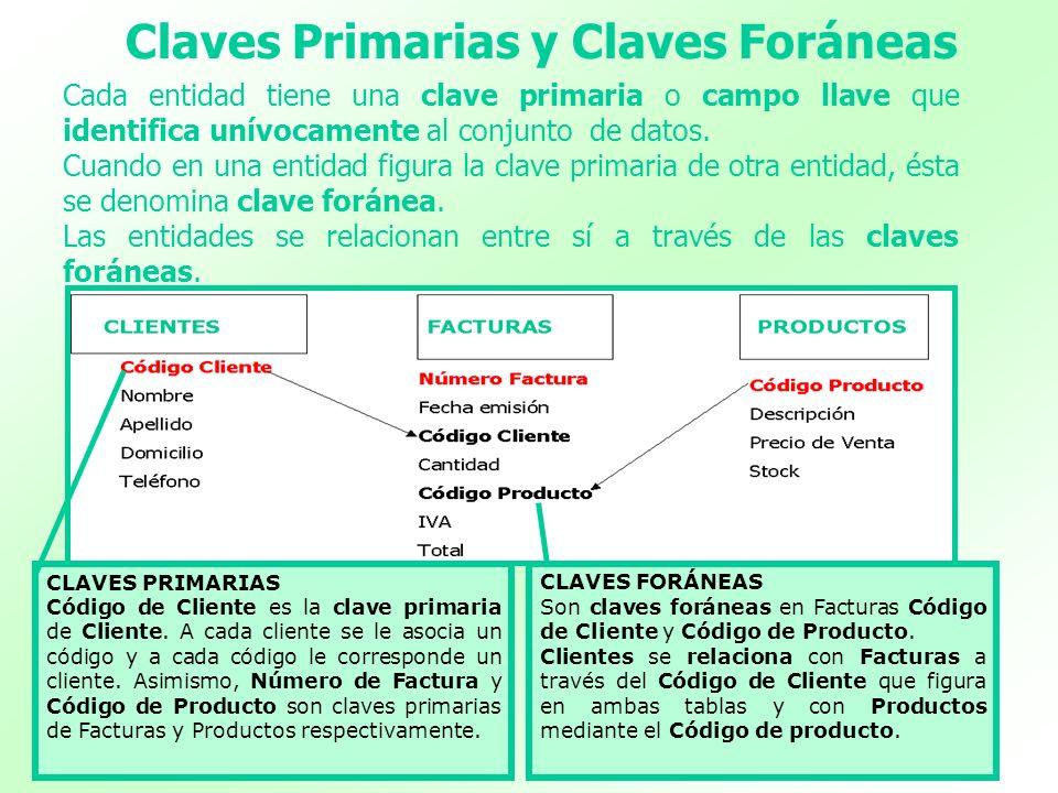 Claves Primarias y Claves Foráneas