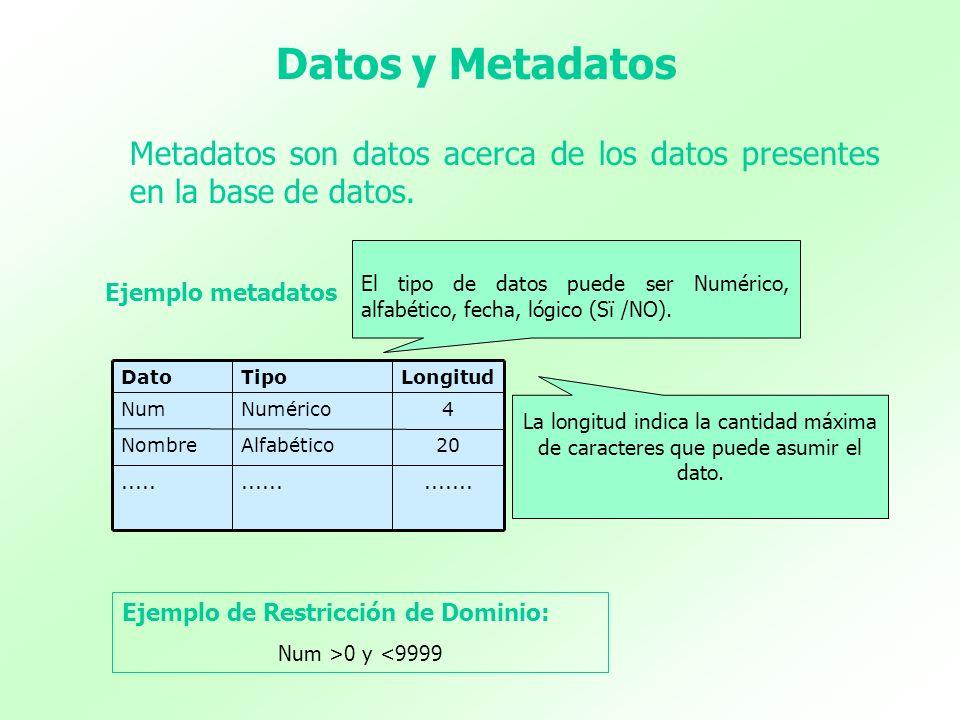 Datos y MetadatosMetadatos son datos acerca de los datos presentes en la base de datos.