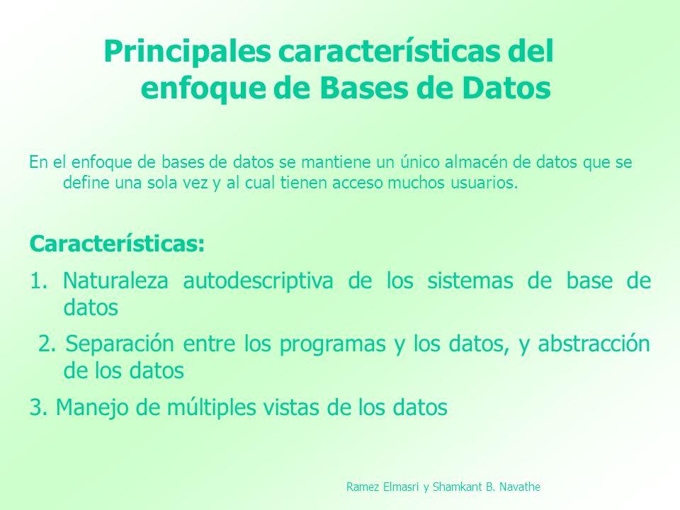 Principales características del enfoque de Bases de Datos