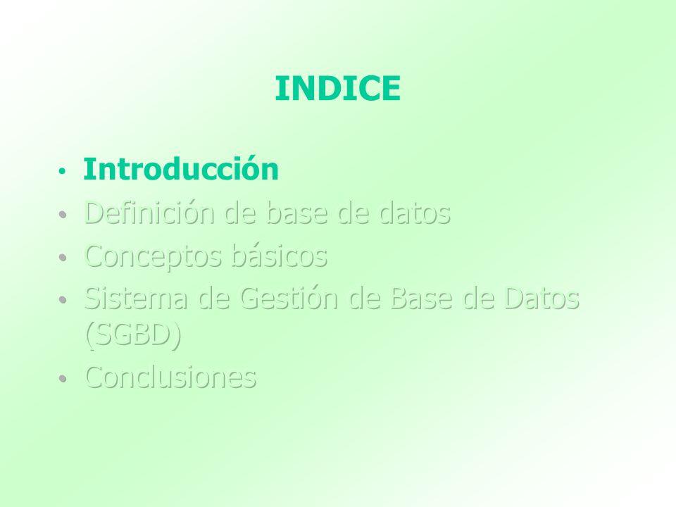 INDICE Introducción Definición de base de datos Conceptos básicos