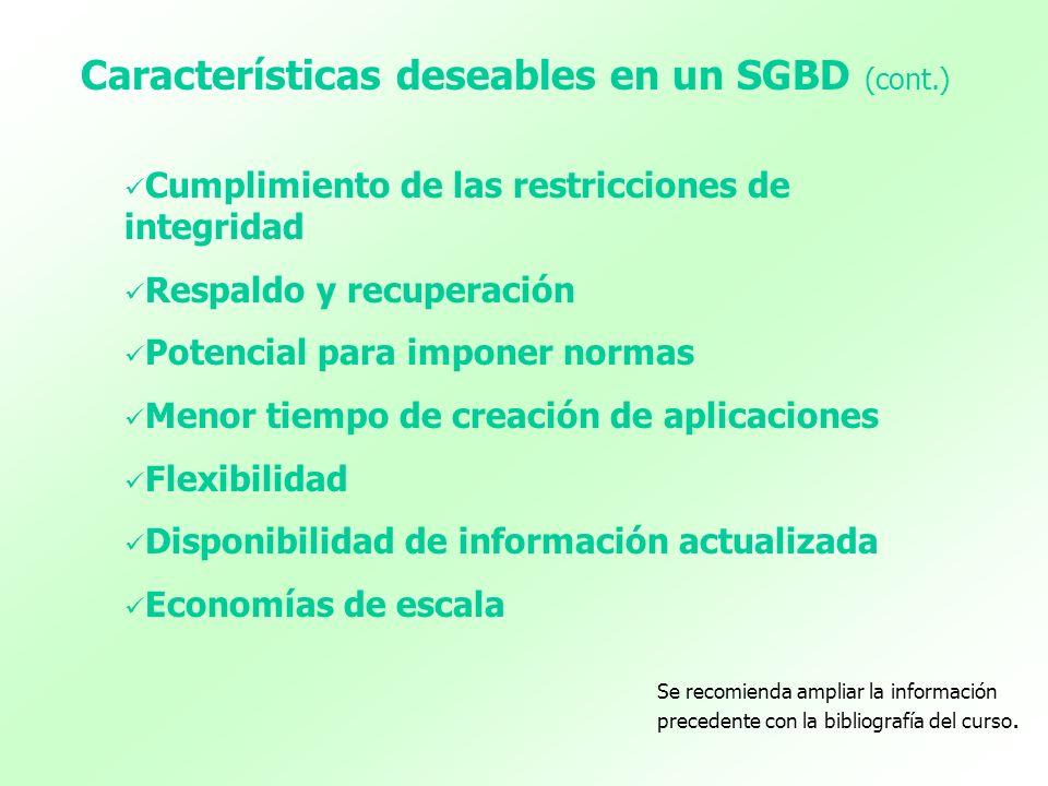 Características deseables en un SGBD (cont.)