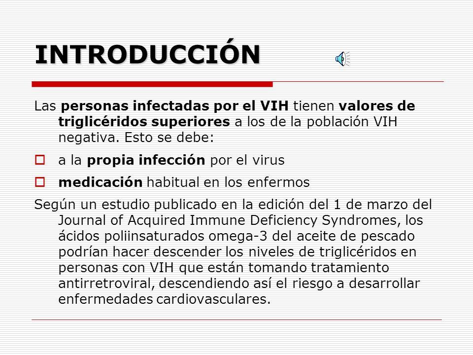 INTRODUCCIÓN Las personas infectadas por el VIH tienen valores de triglicéridos superiores a los de la población VIH negativa. Esto se debe: