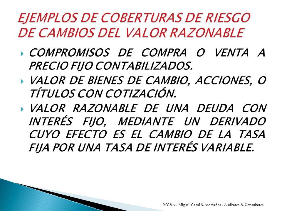 EJEMPLOS DE COBERTURAS DE RIESGO DE CAMBIOS DEL VALOR RAZONABLE