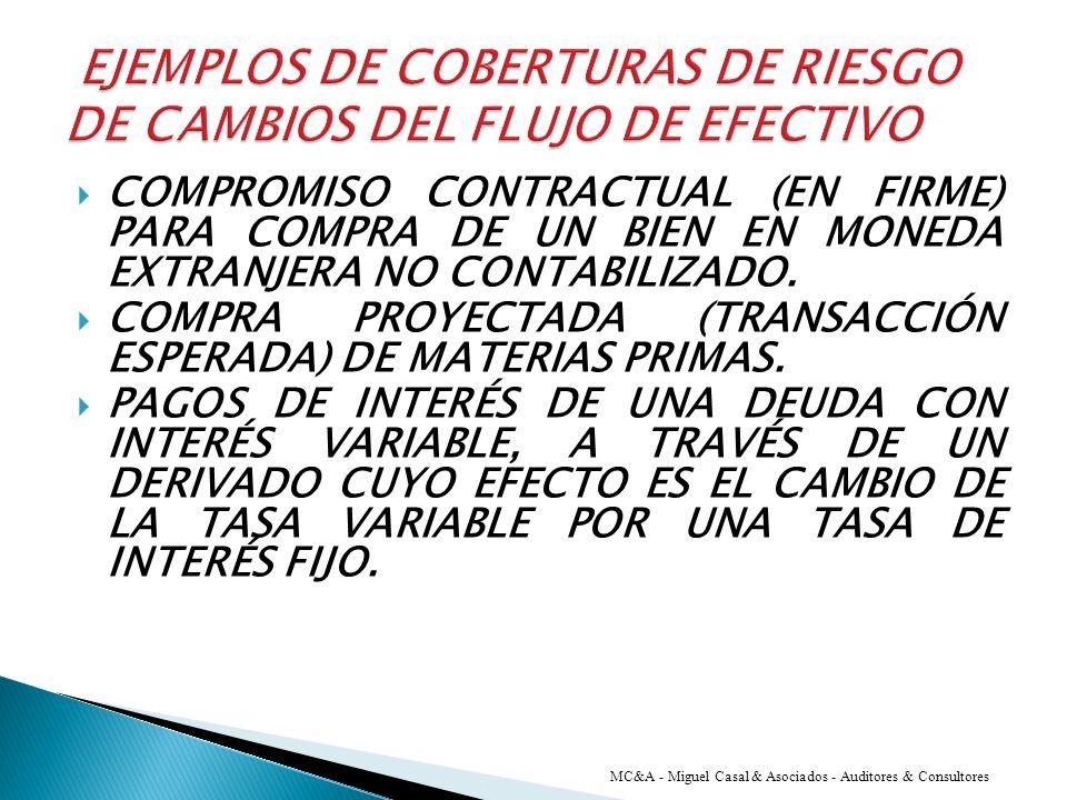 EJEMPLOS DE COBERTURAS DE RIESGO DE CAMBIOS DEL FLUJO DE EFECTIVO