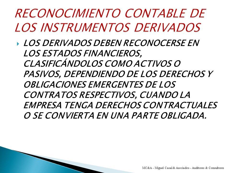 RECONOCIMIENTO CONTABLE DE LOS INSTRUMENTOS DERIVADOS