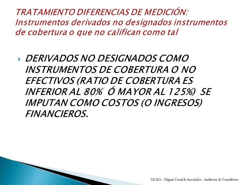 TRATAMIENTO DIFERENCIAS DE MEDICIÓN: Instrumentos derivados no designados instrumentos de cobertura o que no califican como tal