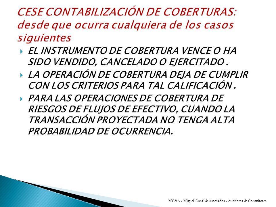 CESE CONTABILIZACIÓN DE COBERTURAS: desde que ocurra cualquiera de los casos siguientes
