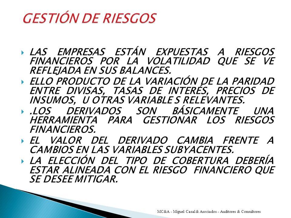 GESTIÓN DE RIESGOS LAS EMPRESAS ESTÁN EXPUESTAS A RIESGOS FINANCIEROS POR LA VOLATILIDAD QUE SE VE REFLEJADA EN SUS BALANCES.