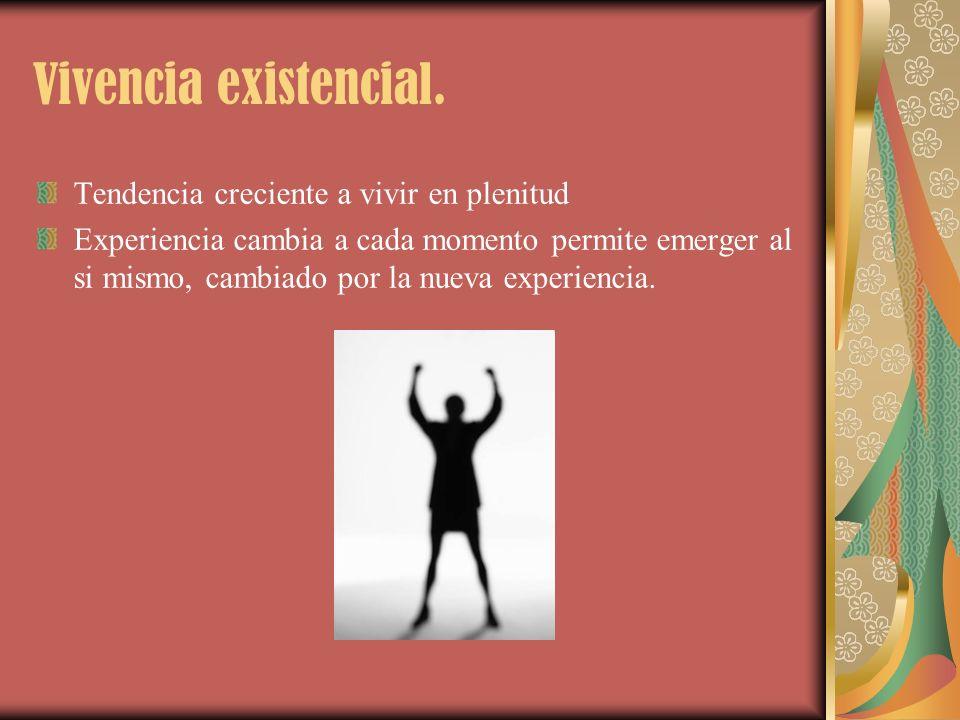 Vivencia existencial. Tendencia creciente a vivir en plenitud