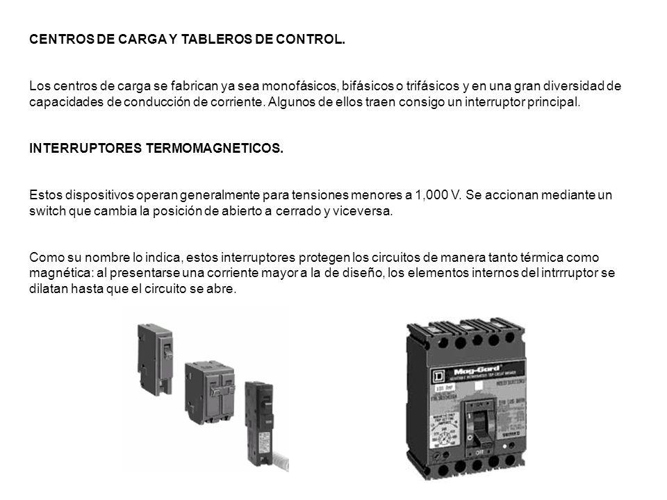 CENTROS DE CARGA Y TABLEROS DE CONTROL.