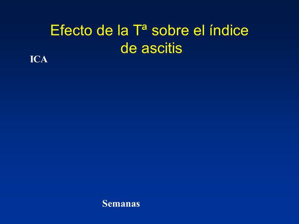 Efecto de la Tª sobre el índice de ascitis