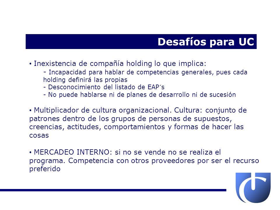 Desafíos para UC Inexistencia de compañía holding lo que implica: