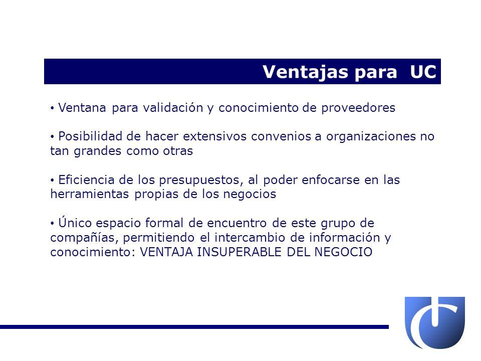 Ventajas para UC Ventana para validación y conocimiento de proveedores