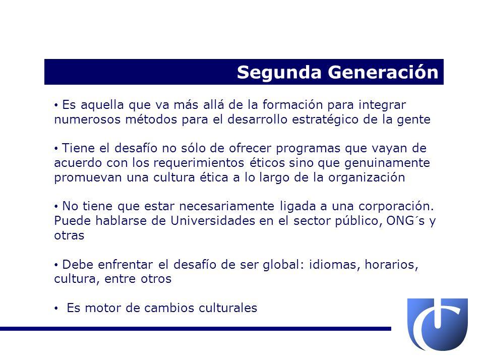 Segunda Generación Es aquella que va más allá de la formación para integrar numerosos métodos para el desarrollo estratégico de la gente.