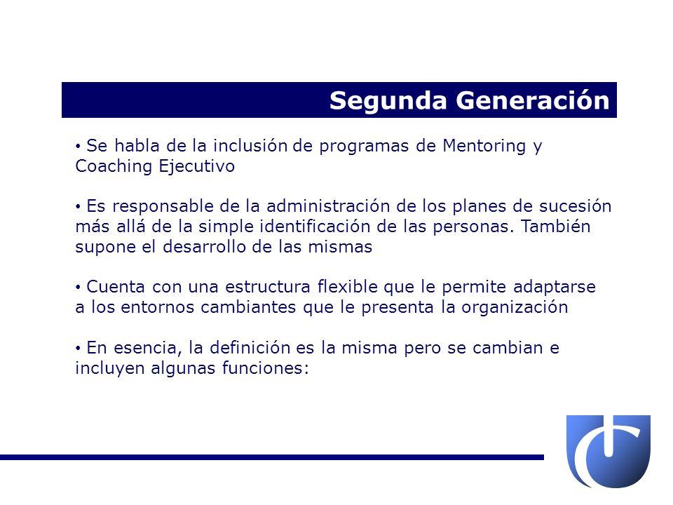Segunda Generación Se habla de la inclusión de programas de Mentoring y Coaching Ejecutivo.