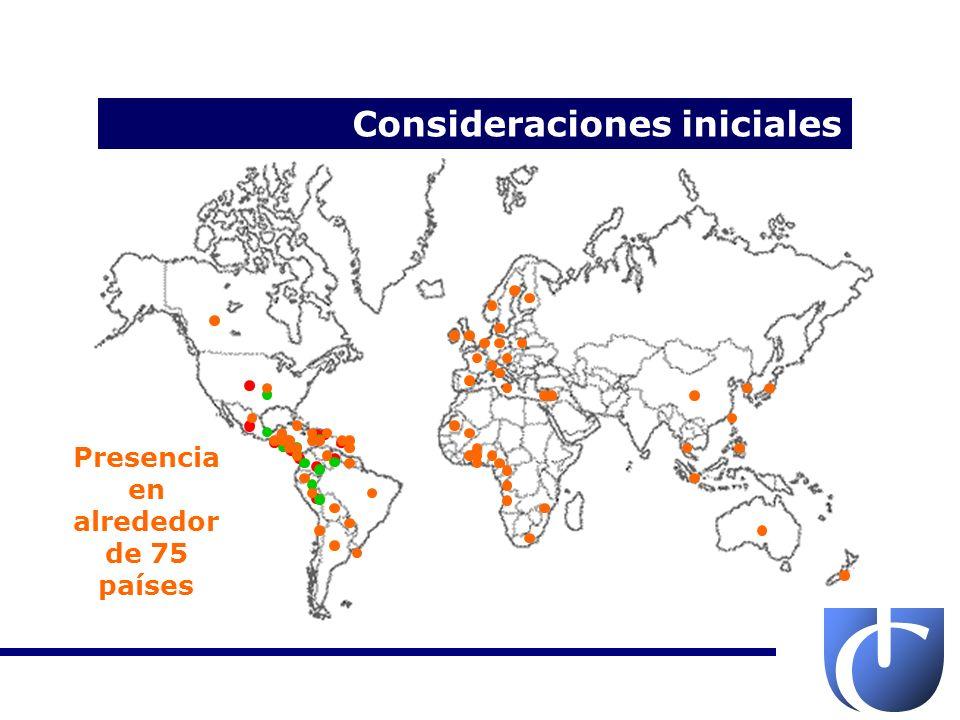Presencia en alrededor de 75 países Distribución en 12 países
