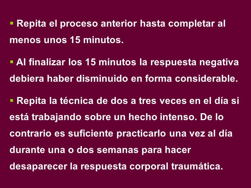 Repita el proceso anterior hasta completar al menos unos 15 minutos.