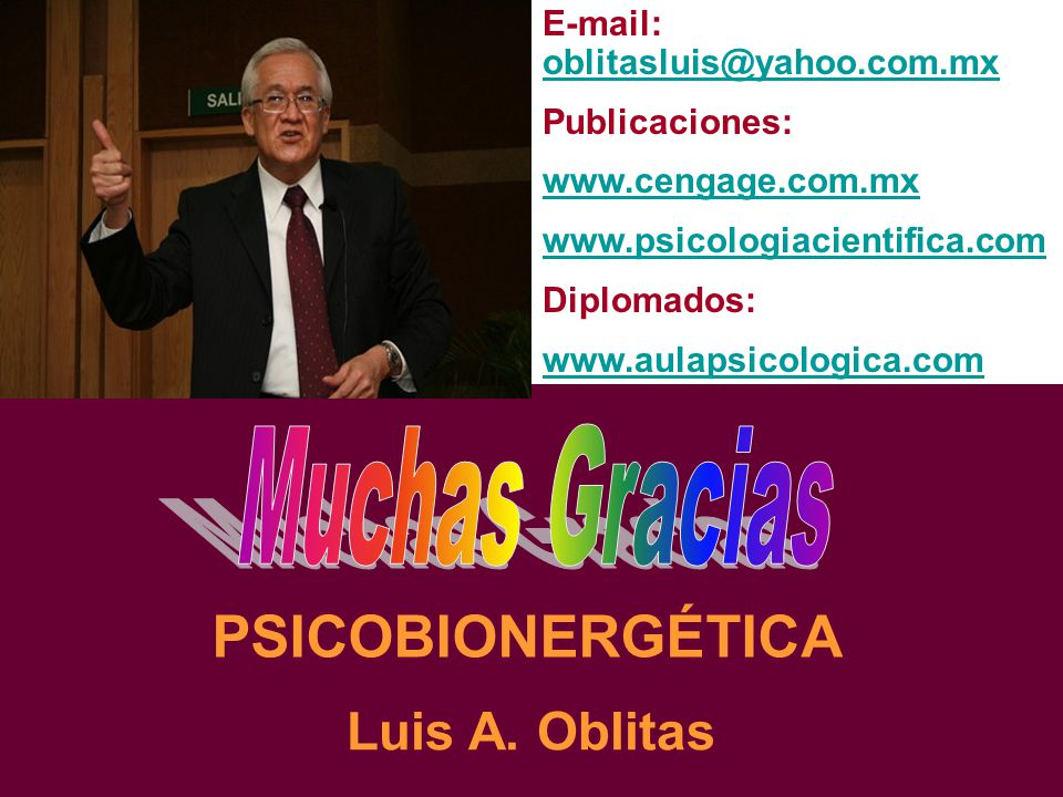 PSICOBIONERGÉTICA Muchas Gracias Luis A. Oblitas