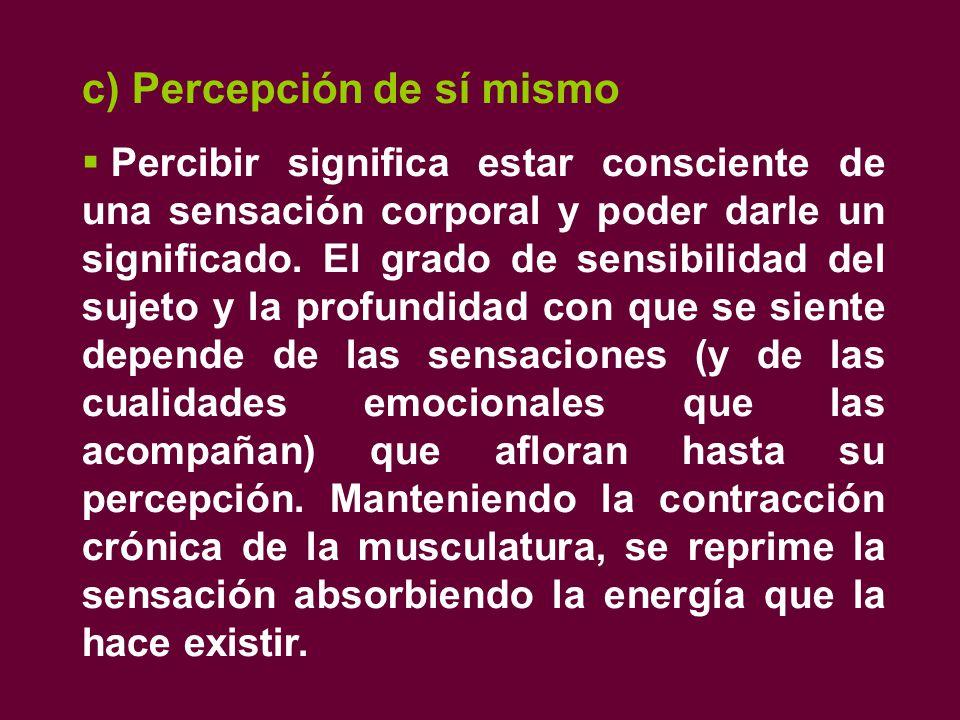 c) Percepción de sí mismo