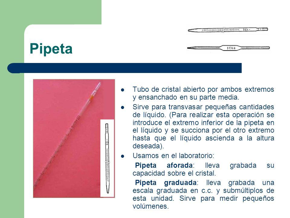 Pipeta Tubo de cristal abierto por ambos extremos y ensanchado en su parte media.