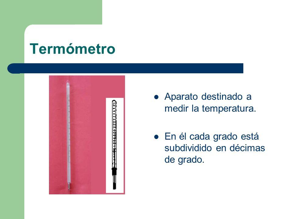 Termómetro Aparato destinado a medir la temperatura.