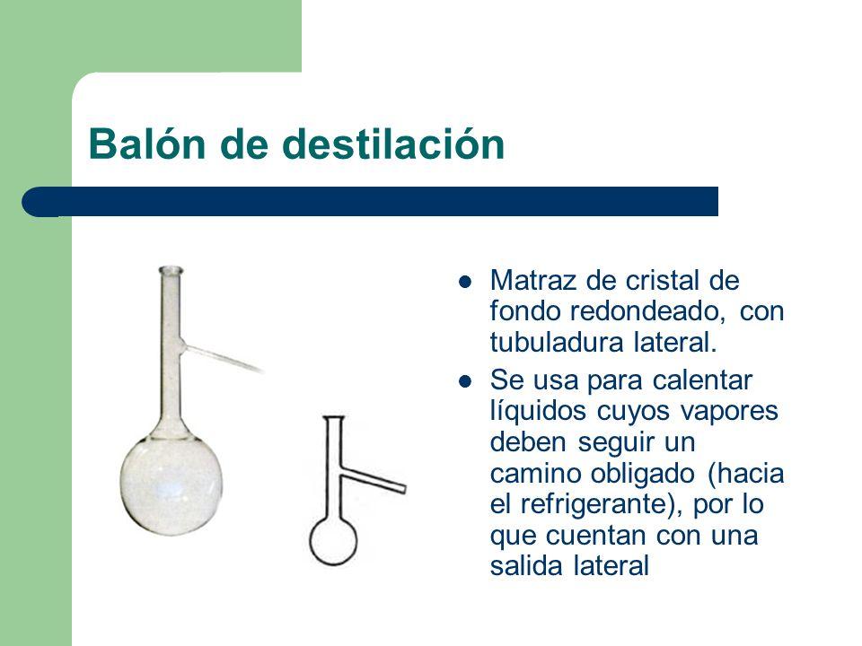 Balón de destilaciónMatraz de cristal de fondo redondeado, con tubuladura lateral.