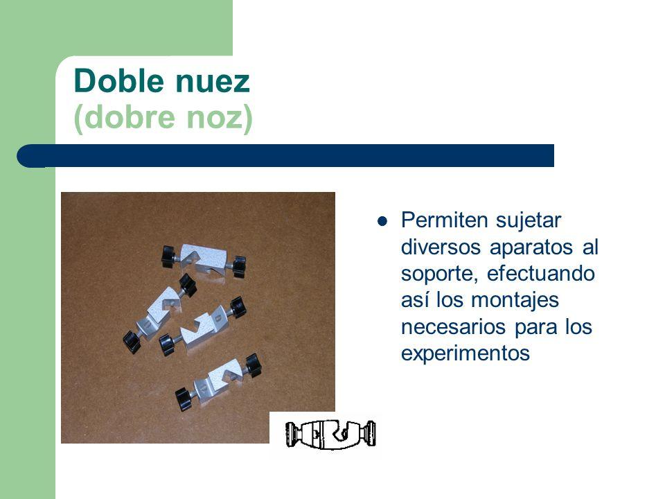 Doble nuez (dobre noz) Permiten sujetar diversos aparatos al soporte, efectuando así los montajes necesarios para los experimentos.