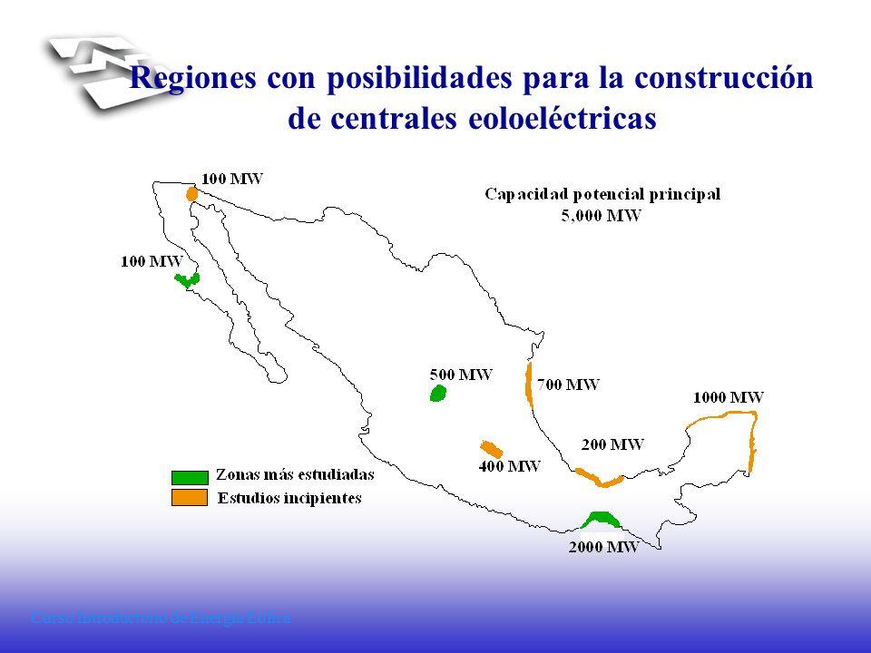 Regiones con posibilidades para la construcción de centrales eoloeléctricas