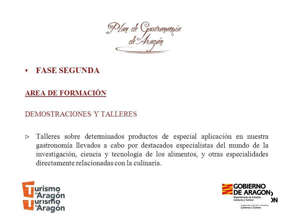 FASE SEGUNDA AREA DE FORMACIÓN DEMOSTRACIONES Y TALLERES