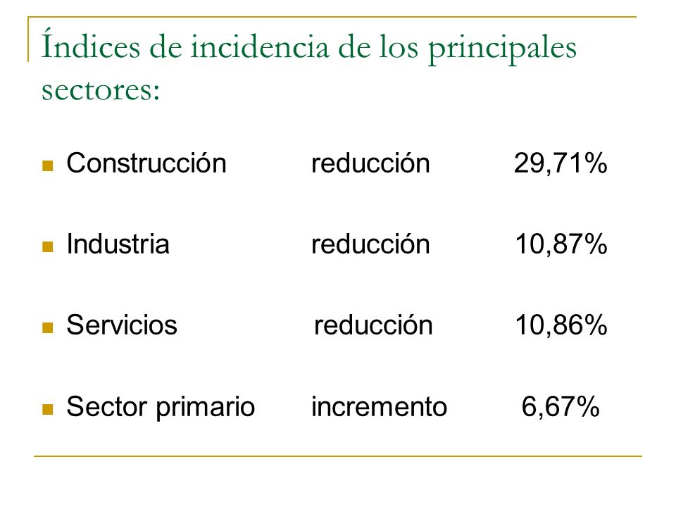 Índices de incidencia de los principales sectores: