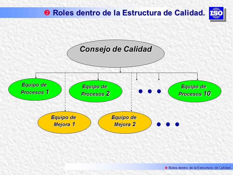 Roles dentro de la Estructura de Calidad.
