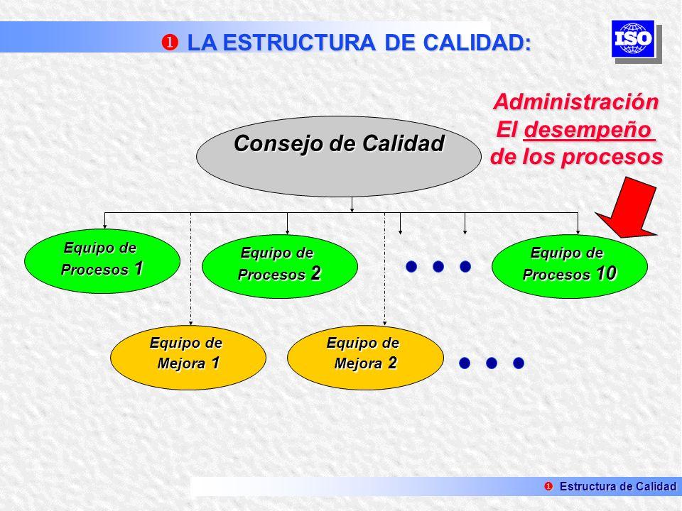 Administración El desempeño de los procesos Consejo de Calidad