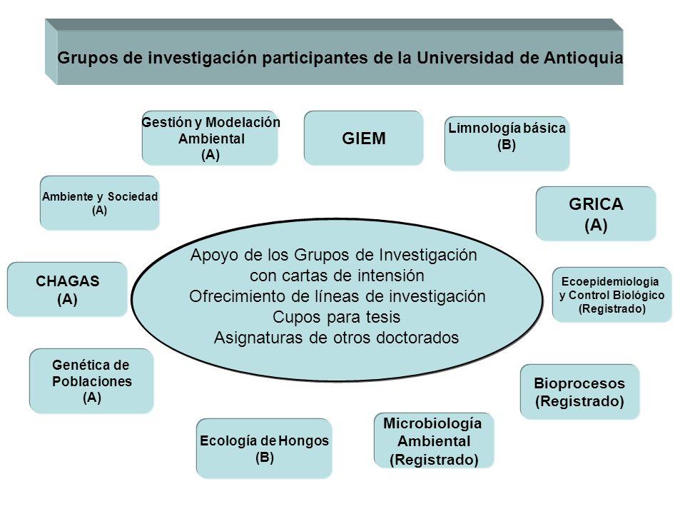 Grupos de investigación participantes de la Universidad de Antioquia