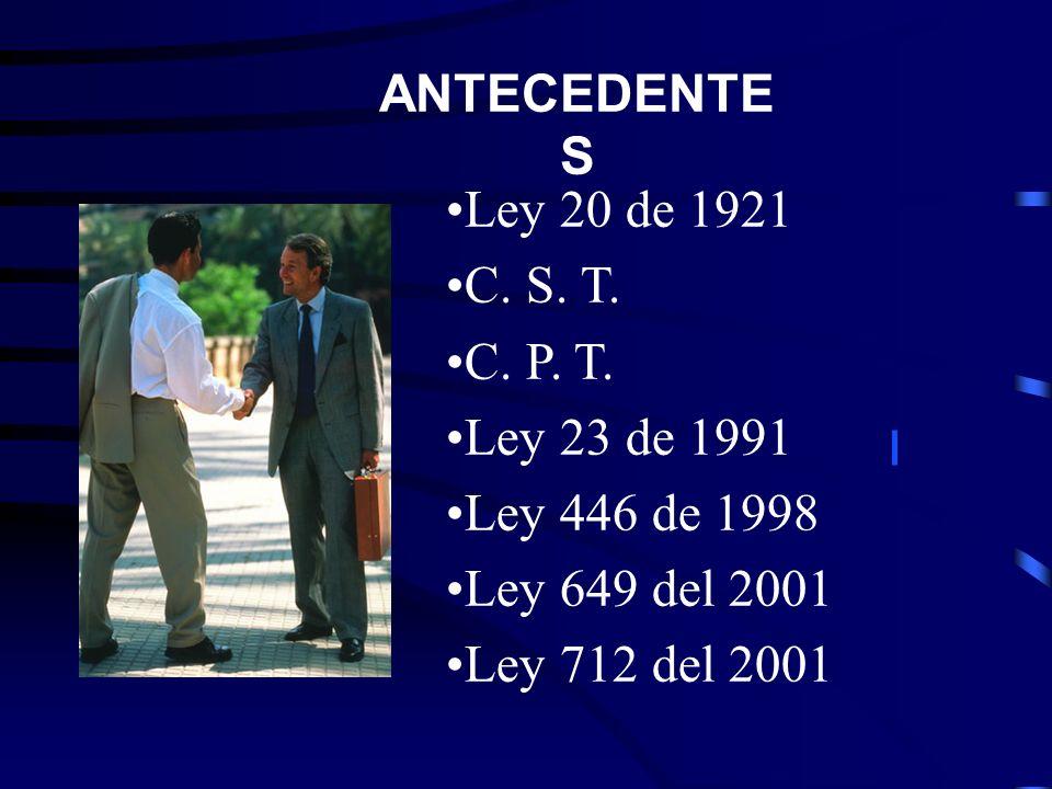 ANTECEDENTES Ley 20 de 1921. C. S. T. C. P. T. Ley 23 de 1991. Ley 446 de 1998. Ley 649 del 2001.