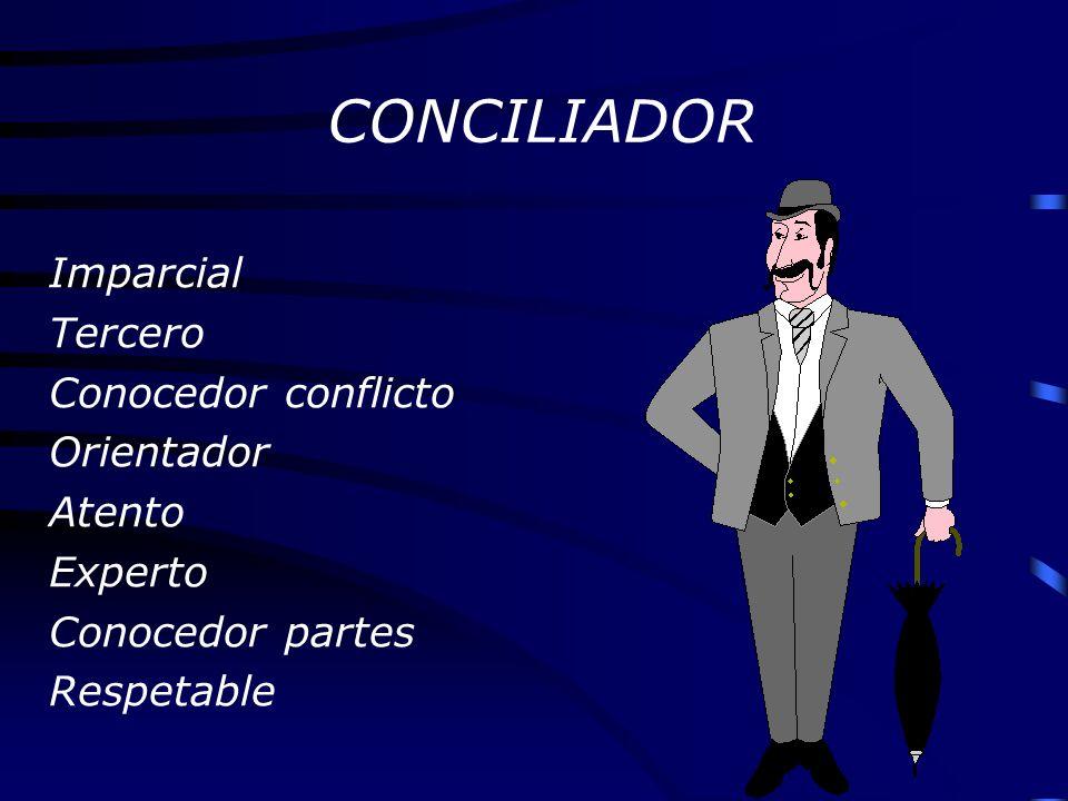 CONCILIADOR Imparcial Tercero Conocedor conflicto Orientador Atento