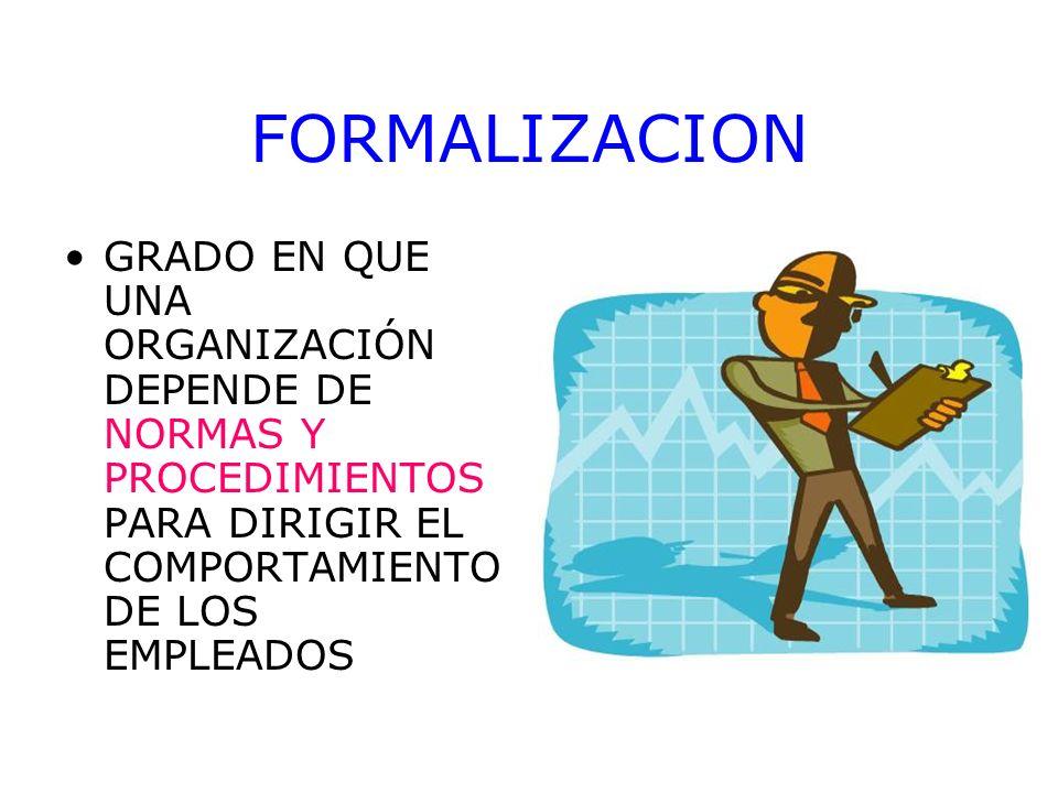 FORMALIZACION GRADO EN QUE UNA ORGANIZACIÓN DEPENDE DE NORMAS Y PROCEDIMIENTOS PARA DIRIGIR EL COMPORTAMIENTO DE LOS EMPLEADOS.