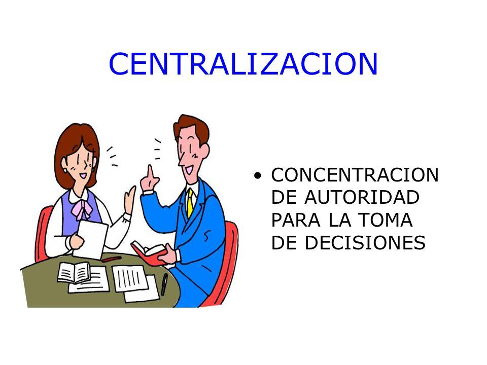 CENTRALIZACION CONCENTRACION DE AUTORIDAD PARA LA TOMA DE DECISIONES