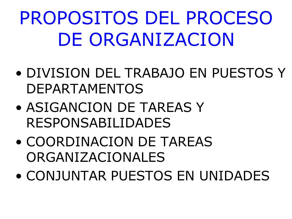 PROPOSITOS DEL PROCESO DE ORGANIZACION
