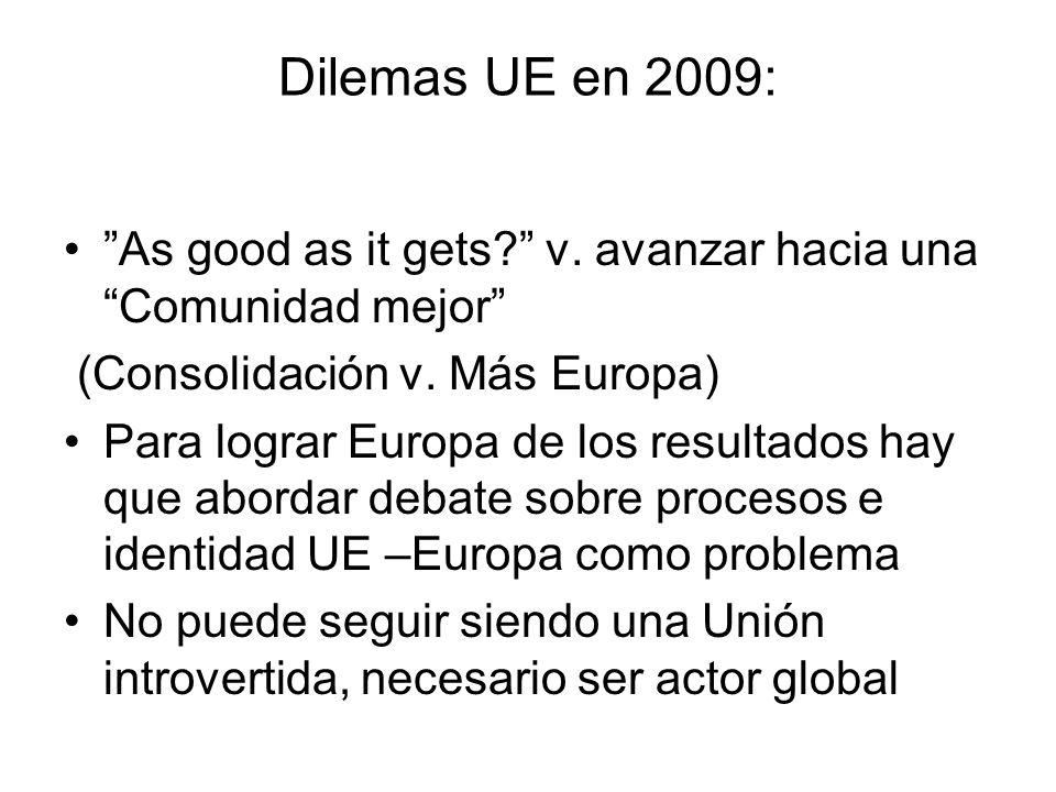 Dilemas UE en 2009: As good as it gets v. avanzar hacia una Comunidad mejor (Consolidación v. Más Europa)