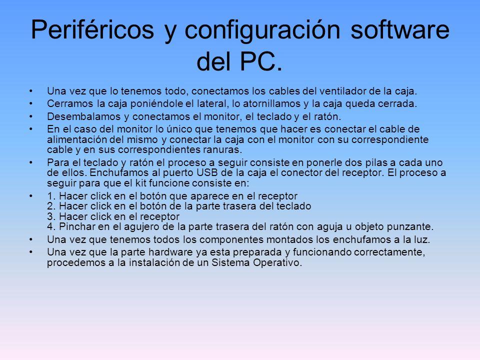 Periféricos y configuración software del PC.