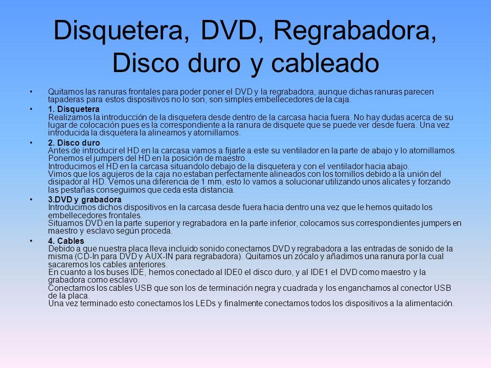 Disquetera, DVD, Regrabadora, Disco duro y cableado