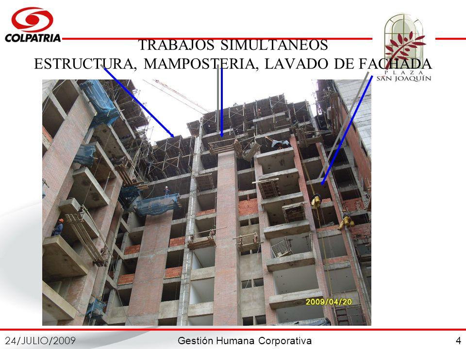 TRABAJOS SIMULTANEOS ESTRUCTURA, MAMPOSTERIA, LAVADO DE FACHADA
