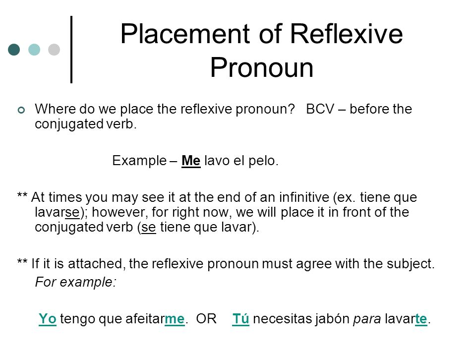 Placement of Reflexive Pronoun