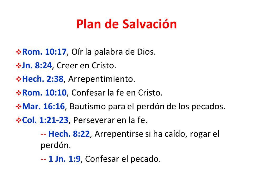 Plan de Salvación Rom. 10:17, Oír la palabra de Dios.