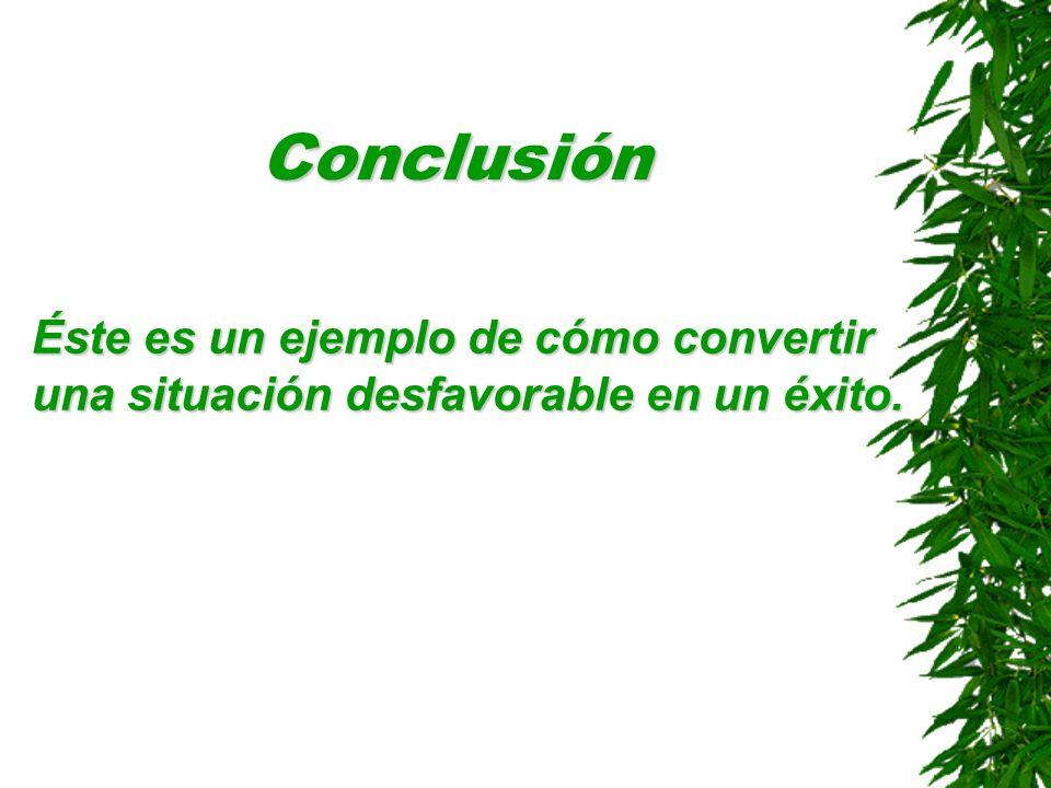 Conclusión Éste es un ejemplo de cómo convertir una situación desfavorable en un éxito.