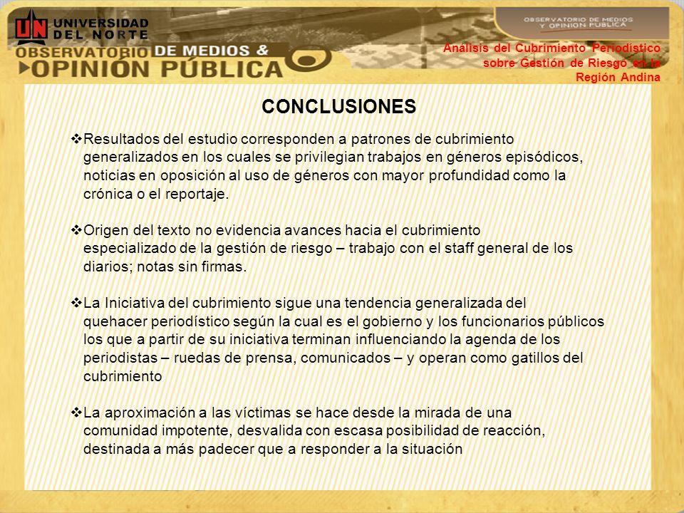 Análisis del Cubrimiento Periodístico sobre Gestión de Riesgo en la Región Andina