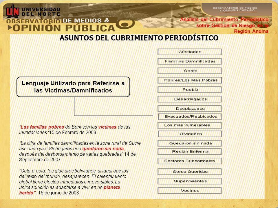 ASUNTOS DEL CUBRIMIENTO PERIODÍSTICO