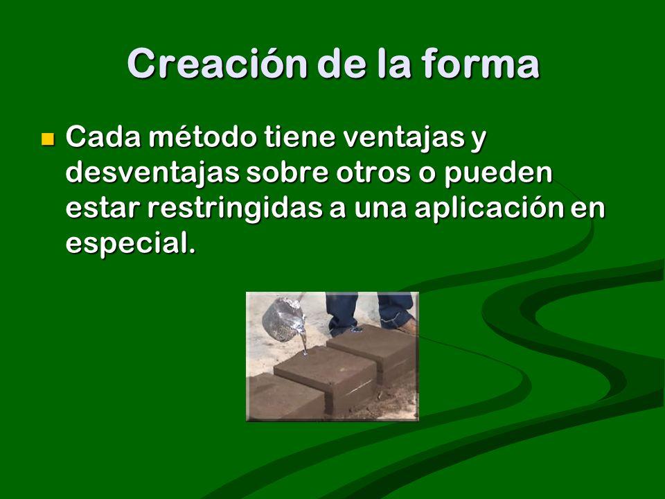 Creación de la forma Cada método tiene ventajas y desventajas sobre otros o pueden estar restringidas a una aplicación en especial.